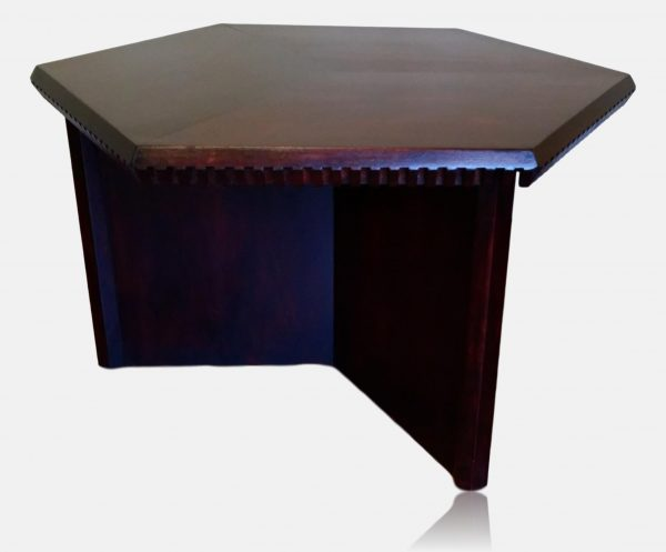 Hexagonal coffee table with background removed