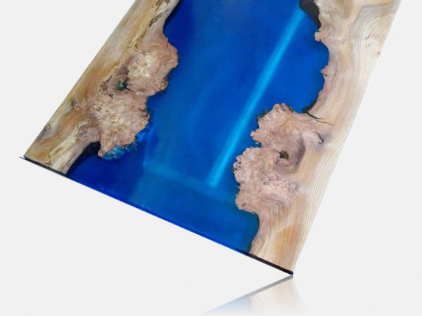 Blue resin and elm table top