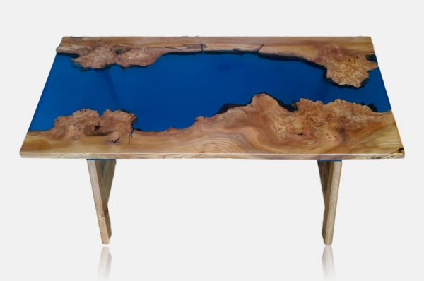 Blue resin river coffee table without background