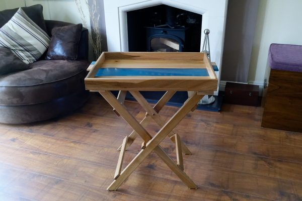 Blue resin and elm side table
