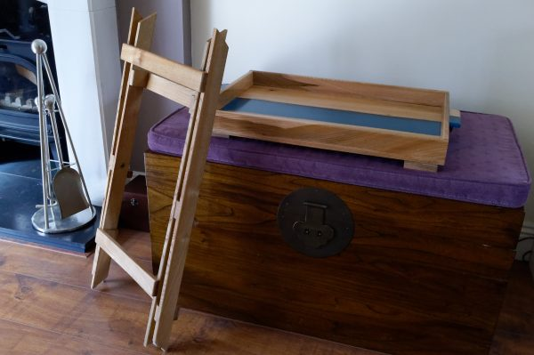 Folded Table legs and tray with blue resin