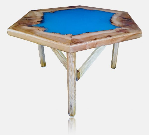 Hexagonal coffee table with blue resin