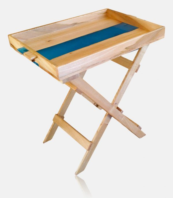 Blue resin and elm side table with removable tray