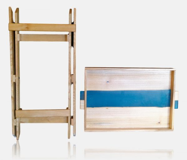 Folded elm and resin side table with removable tray
