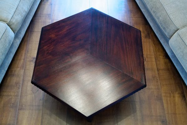 Top view of hexagonal coffee table