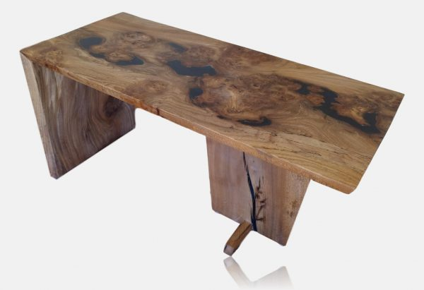 Waterfall coffee table in burr elm and resin