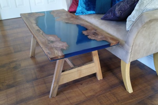 River coffee table with blue resin and burr elm