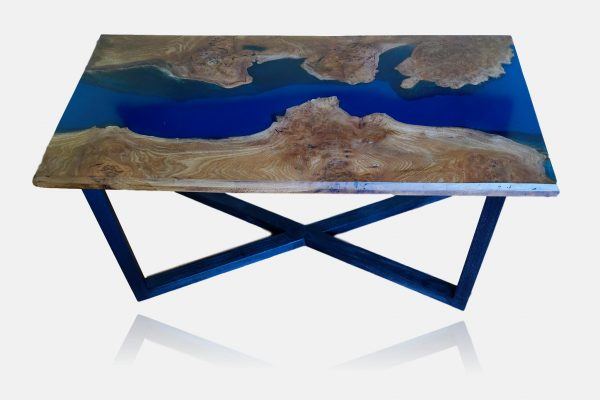 Elm river coffee table with sea blue epoxy resin river and ebonised ash legs
