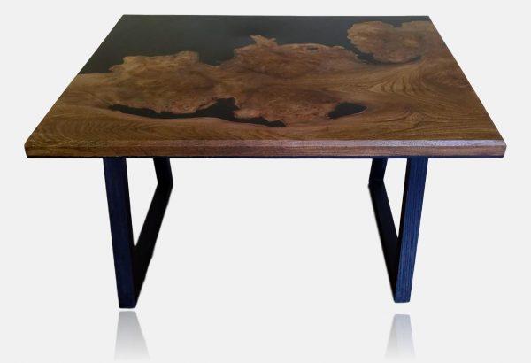 Burr elm and black epoxy resin table on ebonised ash legs