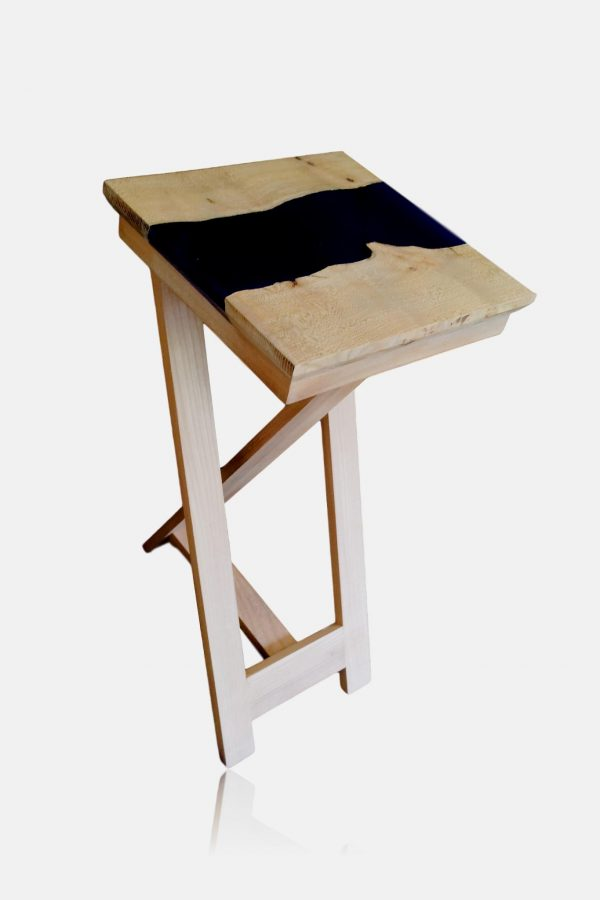 Elm and epoxy resin lamp table on tripod legs