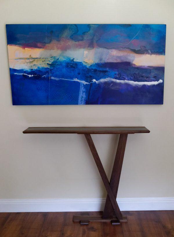 Walnut tall slim hall console table