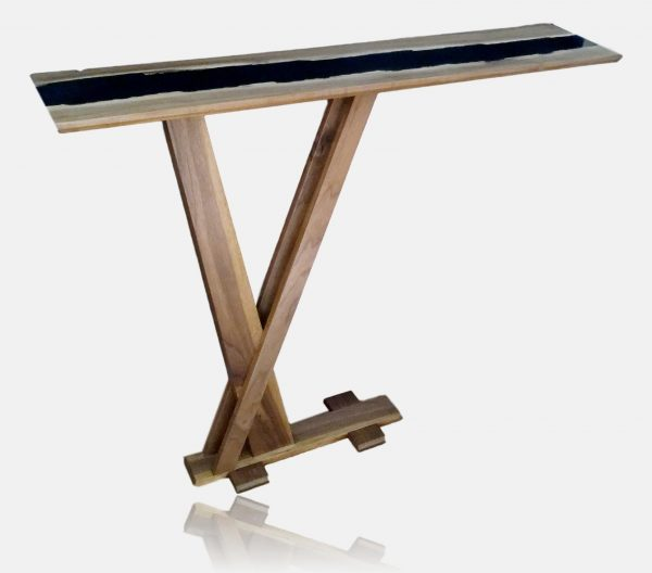 Solid Walnut and black epoxy resin tall slim console table