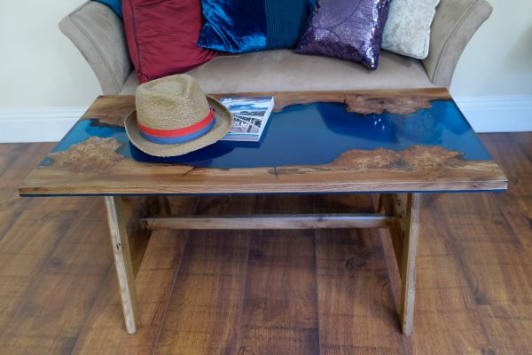 Burr elm and blue resin coffee table on solid elm A frame legs