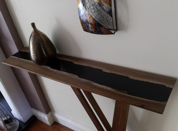 American Walnut Console Table Top Showing Black Resin River