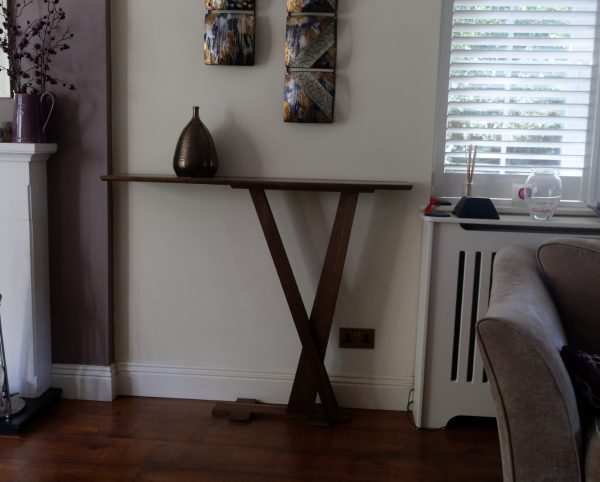 American Walnut Console Table with Ceramic Pot