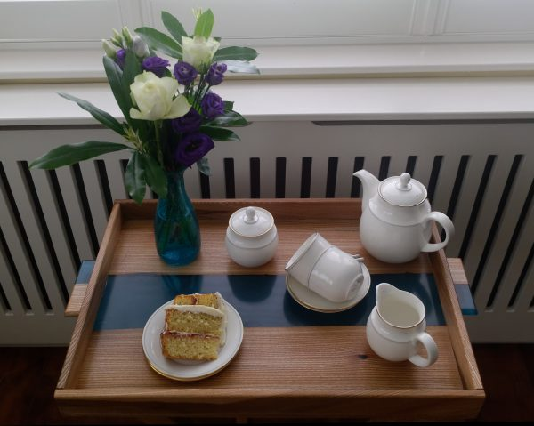 Side Table with Removable Tray with Flowers, Tea Set and Sponge Cake