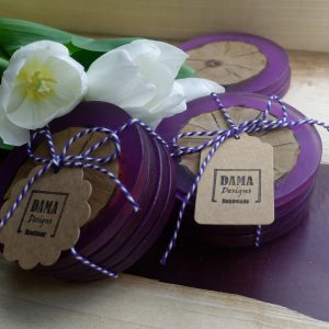 Ash and Purple Resin Coaster Set with Flowers