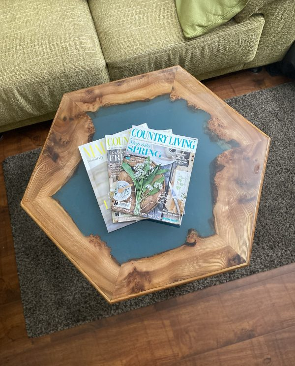 Burr Elm Hexagonal Table Showing Book-Matched Sides
