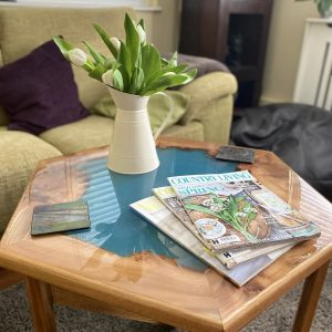 Burr Elm and Expoxy Resin Hexagonal Table with Flowers and Magazines