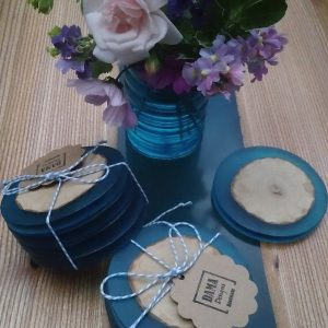 Ash and Resin Coasters with Flowers