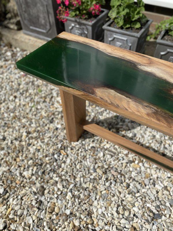 Emerald Green Hall Bench Corner Showing Green Resin Detail