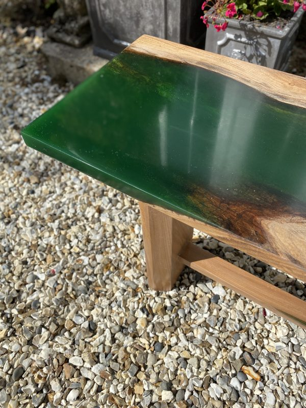 Emerald Green Hall Bench Showing Resin Detail to Seat