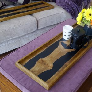 Elm and Resin 'Book Matched' Ottoman Tray with Flowers