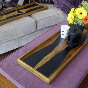 Elm and Resin 'Book Matched' Ottoman Tray with Flowers and Coffee