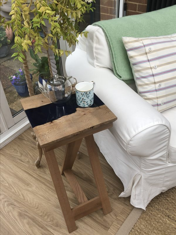 Side Table with Marine Blue Resin and Tea Pot