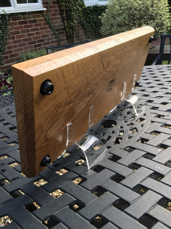 Back view of Charcuterie Board sitting on outside table