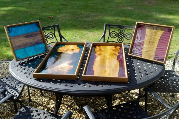 Collection of four trays made from Elm and coloured Resin