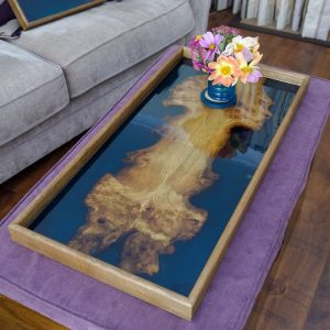 Aerial View of Burr Elm and Blue Resin Ottoman Tray with Flowers