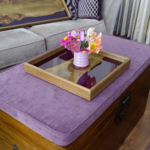 Square Tray made from Elm and Purple Resin with Flowers on Box Seat