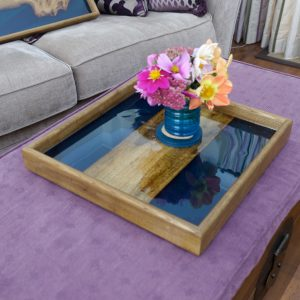 Square Tray made from Elm and Blue Resin with Flowers