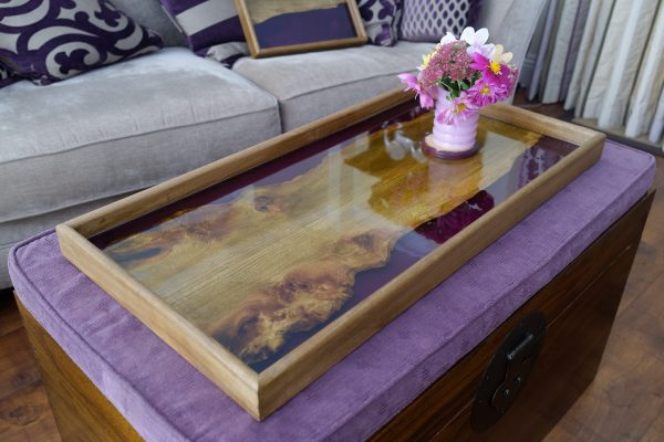 Burr Elm Ottoman Tray with Purple Resin and Flowers