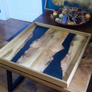 Ottoman tray made from elm and resin