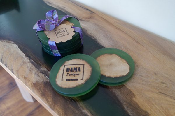 Green Coasters made from Resin and Ash Logs