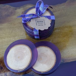 Purple Resin Coasters with Ash Insets on Tray