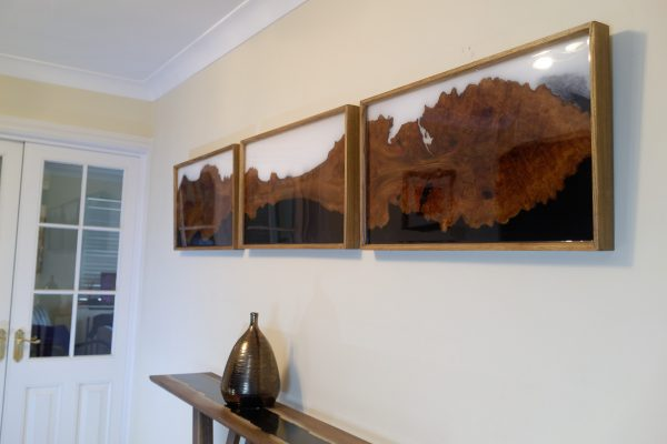 Elm and Black and White Resin Triptych on Wall