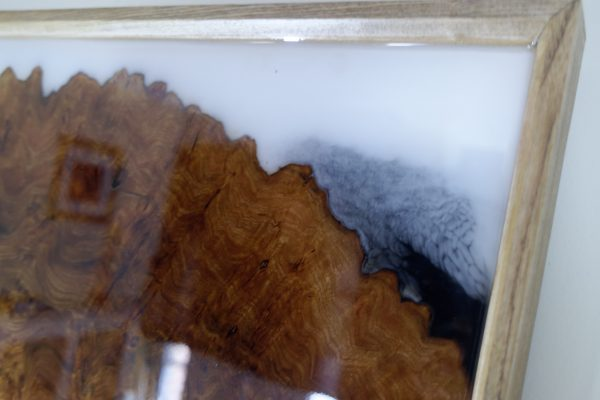 Close Up of Burr Elm and Resin on First Panel Triptych