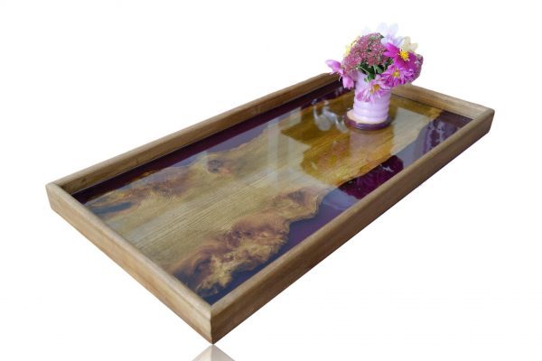 Large Ottoman Tray with Purple Resin and Flowers