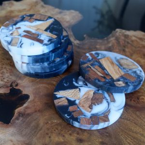 Chunky Wood and Resin Coasters on table top