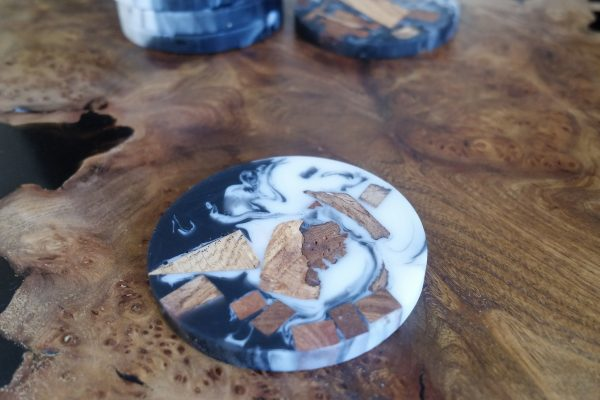 Chunky Resin and Wood Coaster on Table Top