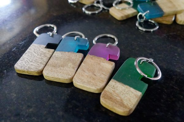 Oak And Coloured Resin Phone Stand Keyrings - Without Logo