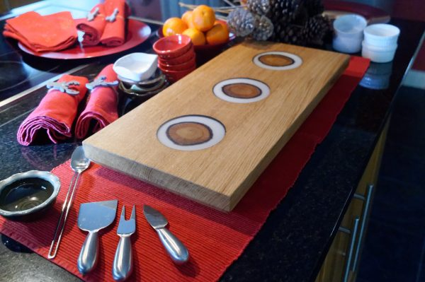 Oak and White Resin Serving Board with Three Inserts on Counter Top