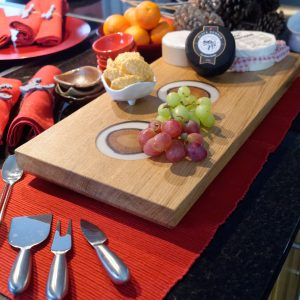 Oak and White Resin Serving Board with Cheeses and Grapes