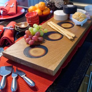 Oak and Blue Resin Serving Board with Cheeses and Grapes