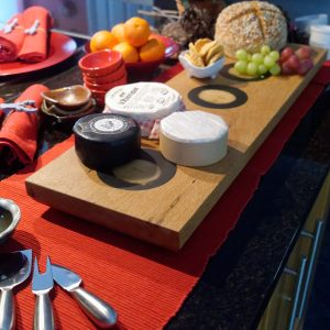 oak Charcuterie Serving Board with Cheeses and Bread