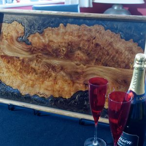 Elm and Resin Ottoman Tray with Champaign Glasses