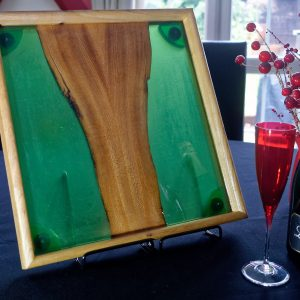 Green Resin Ottoman Tray with Champaign Glasses